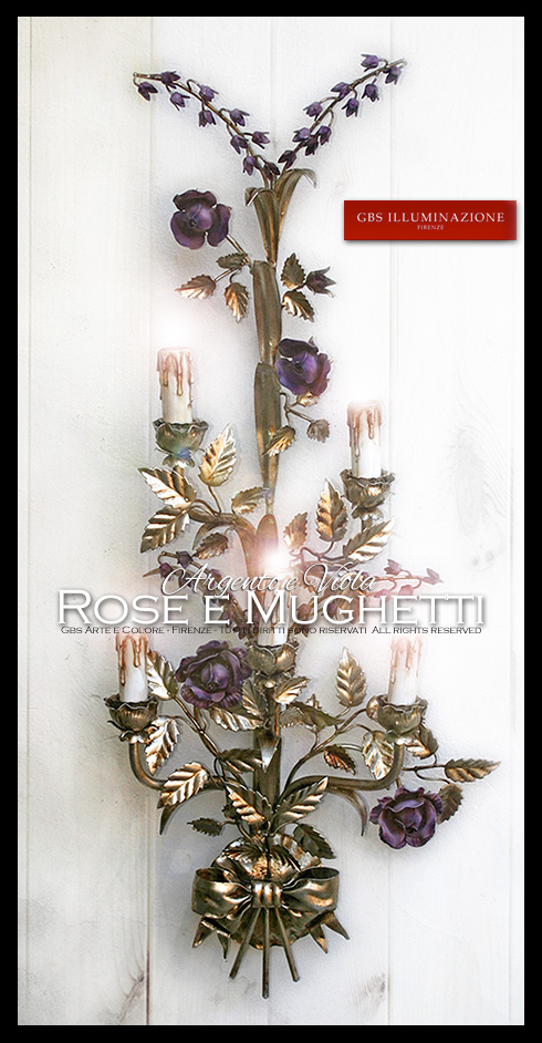 Applique Rose e Mughetti, Argento e Viola