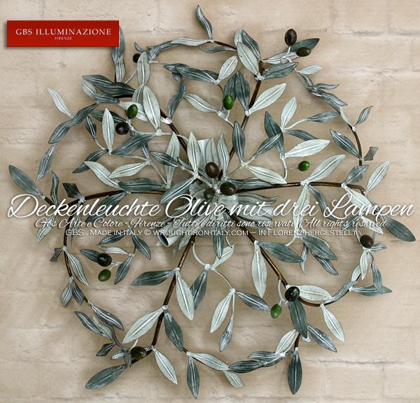 Runde Deckenleuchte Oliven drei Lampen Country-Kollektion,
