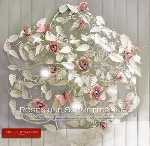 Deckenleuchte in runder Form, fünf halb zwischen Blättern und Blüten versteckte Lampen.