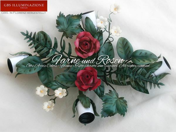 Deckenleuchte mit Rosen und Farnen