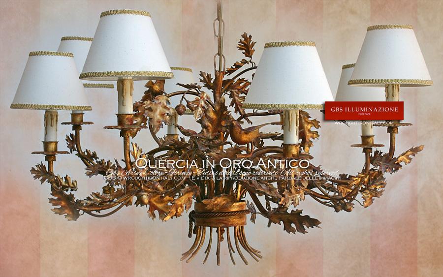 Lampadario Antico Ferro Battuto : Lampadario quercia in oro antico gbs illuminazione u ferro