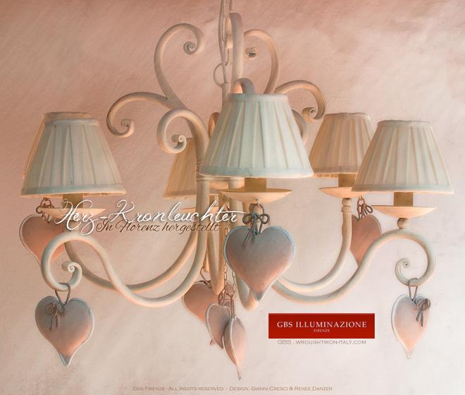 herz kronleuchter mit sechs leuchten der shabby romantik. Black Bedroom Furniture Sets. Home Design Ideas