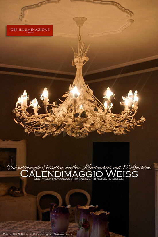 wei er kronleuchter mit 12 leuchten calendimaggio selvatica gbs illuminazione ferro battuto. Black Bedroom Furniture Sets. Home Design Ideas