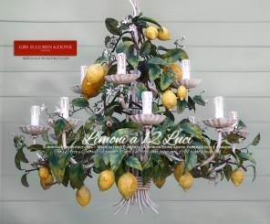 Lampadario Country con Limoni.Ferro battuto e decorato a mano. Smalto opaco. GBS Firenze. Made in Italy