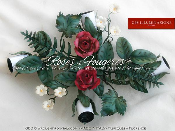 Plafonnier avec Roses et Fougères