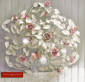 Plafonnier rond Roses et Papillons à 5 lumières