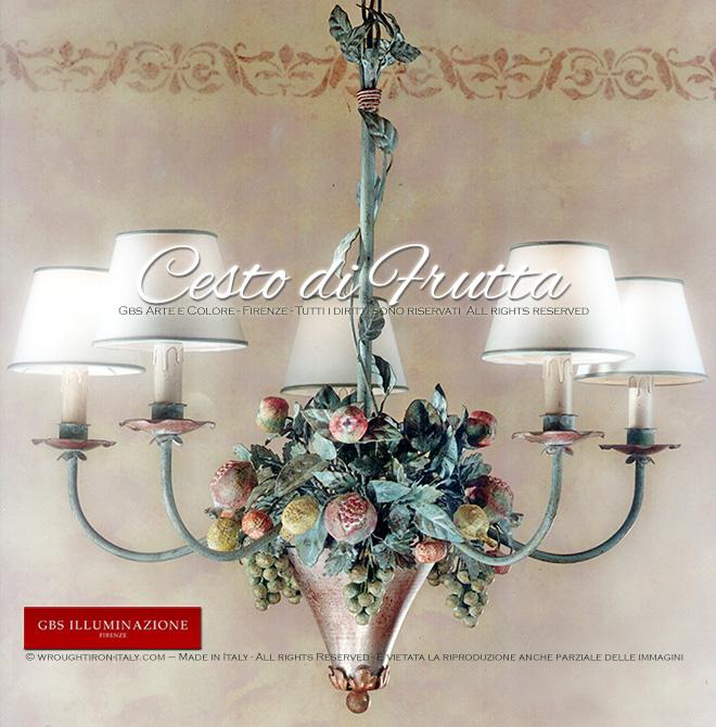 Cesto di Frutta – Lampadario a 5 luci | GBS Illuminazione – Ferro ...