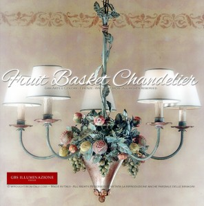 Tuscany Country Kitchen Collection. Green version. 5-light Fruit Chandelier with Grapes, Pomegranates, Lemons and Apples and gold and a green tempera finish.