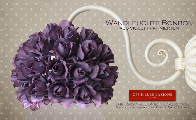 Wandleuchte mit einer Birne, Kollektion Bonbon Röschen, Oberfläche aus antiker Tempera, Farbe patiniertes Rot-Violett.
