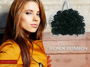 Black Bonbon. Applique Bonbon di rose nere. GBS. Made in Italy