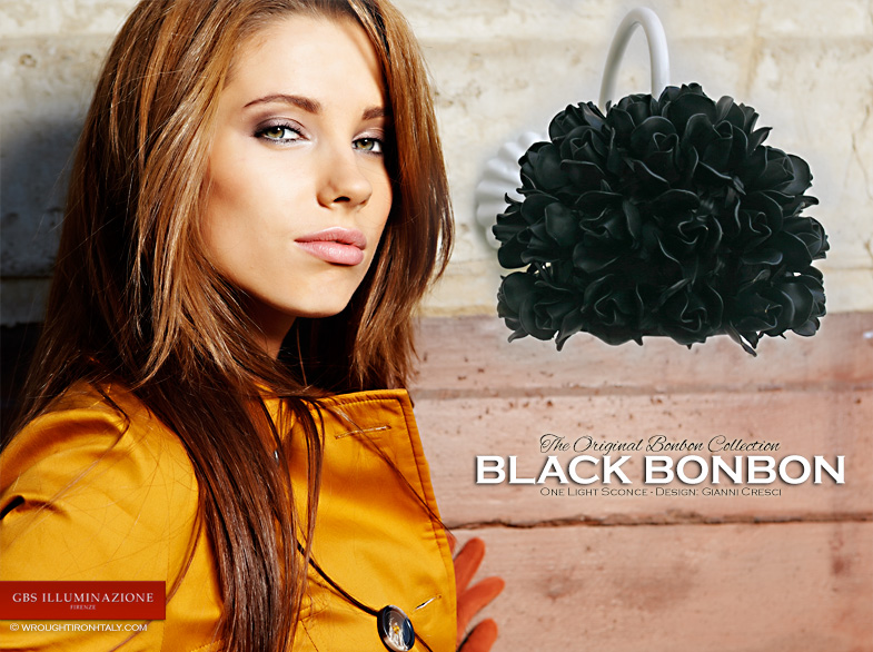 Black roses wall light. Hand-decorated wrought iron. Aged enamel. The Original Bonbon Collection.