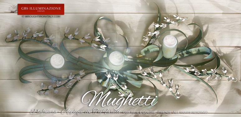 Plafoniera con Mughetti bianchi a tre luci - Applique con faretti direzionabili