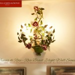 Green leaves. Pink Rose Braid 2-light Wall Sconce