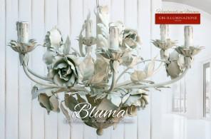 Lampadario in ferro battuto, rose bianche. Gbs chic, lo stile shabby romantico di GBS