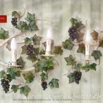 Grande Applique orizzontale, con uva e tralci di vite. Ferro battuto, GBS Firenze
