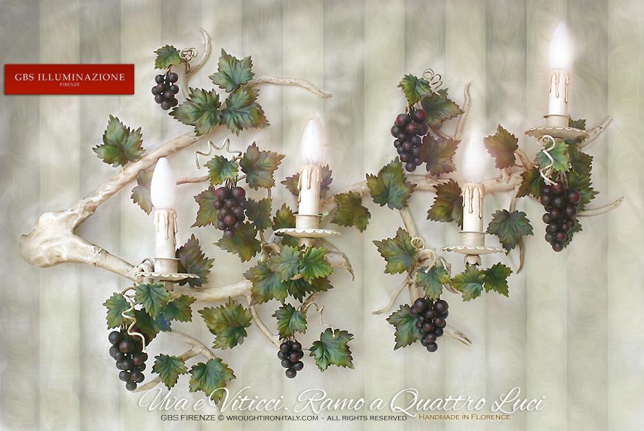 ramo di vite  applique uva a quattro luci