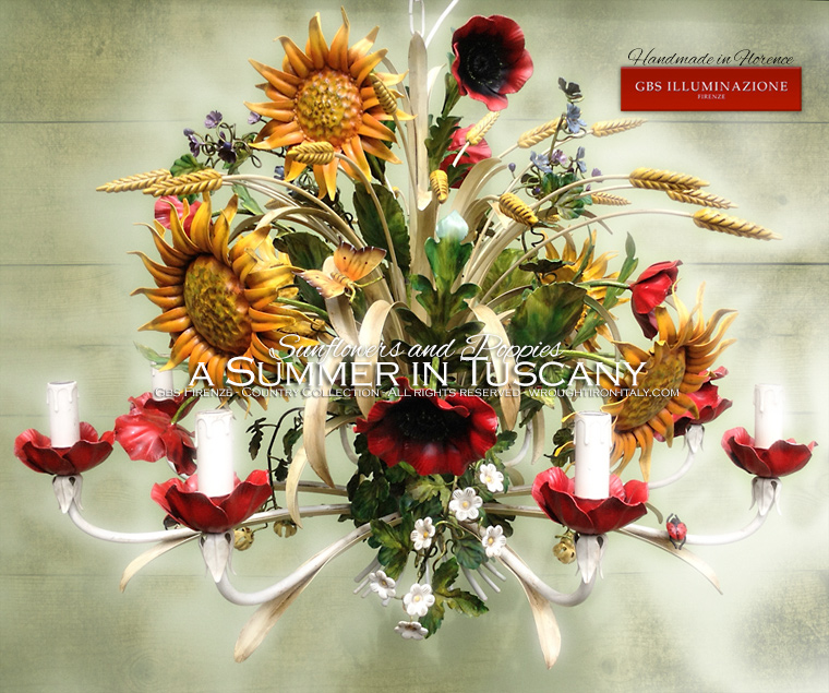 8-light Chandelier with Ears, Poppies, Sunflowers, Clover, Ivy, Strawberry Flowers, Butterfly and Ladybug. The original Country Collection by GBS.