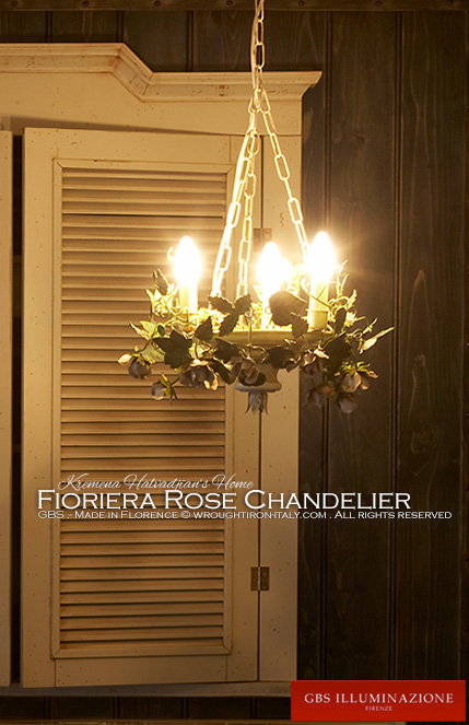 Chandelier with climbing roses. Wrought iron. GBS Firenze. Made in Italy