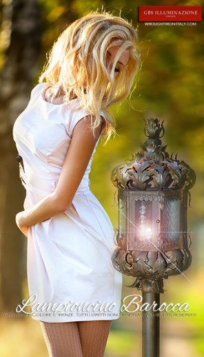 Lampione Lanterna Barocca. Ferro battuto. Illuminazione per il giardino. Ferro battuto