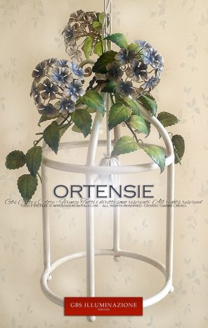 Lanterna Ortensie. Cucina Country Chic. Ferro battuto. Made in Florence. Design: Gianni Cresci