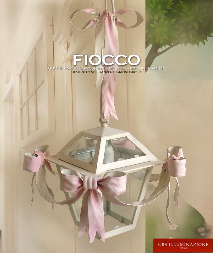 Lanterna Fiocco Rosa per la cameretta della bambine. Una luce. Ferro battuto. GBS