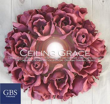 Ceiling Grace. Plafonierta di Rose. L'autentica plafoniera disegnata da Gianni Cresci per GBS Firenze. Ferro battuto e decorato a mano.