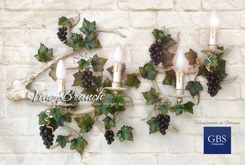 Vine brunch wall light. Sconce with hand-decorated wrought iron shoots. Vine