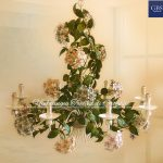 Hydrangea Chandelier. 8 lights. Tole Flowers classic collection
