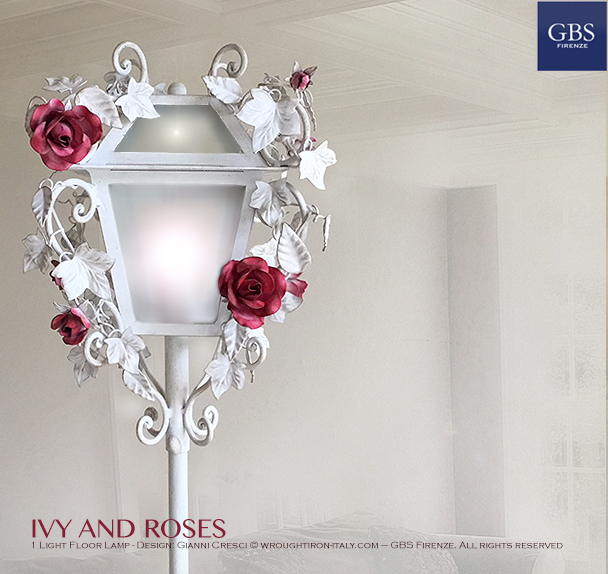 Romantic Wrought iron Floor Lamp. Ivy and Rose. Design by Gianni Cresci. Made in Florence