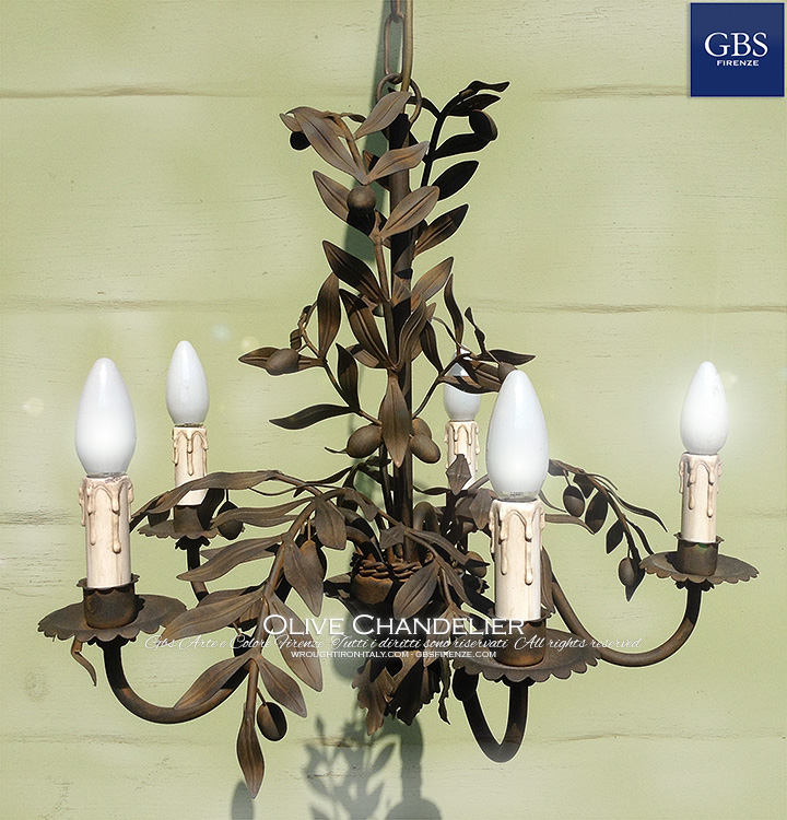 Olives tole Chandelier. Wrought iron - Rust finishing. Made in Italy