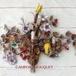 Applique Campora Bouquet a 3 luci. Oro foglia. tulipani, margherite, gerani, gigli, clematis, rose di macchia