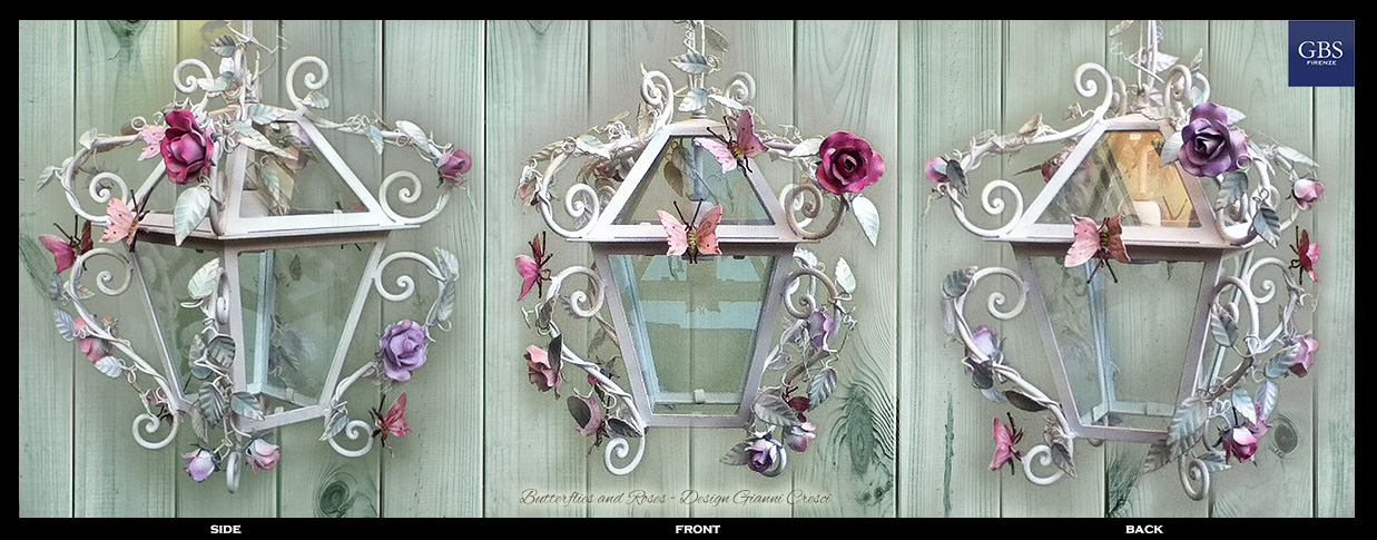 Butterflies and Roses. Wrought iron lantern.