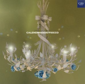 Calendimaggio Fiocco Chandelier. Bow and Roses. 5 Lights.