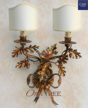Oak tree wall light. Antique gold. With birds. Country collection. Handmade Sconce.