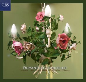 Romantico Chandelier. Tempera. 3 Lights. Tole. Roses. wrought iron.