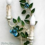 Climbing Roses. 2-Lights Tole Wall Sconce.