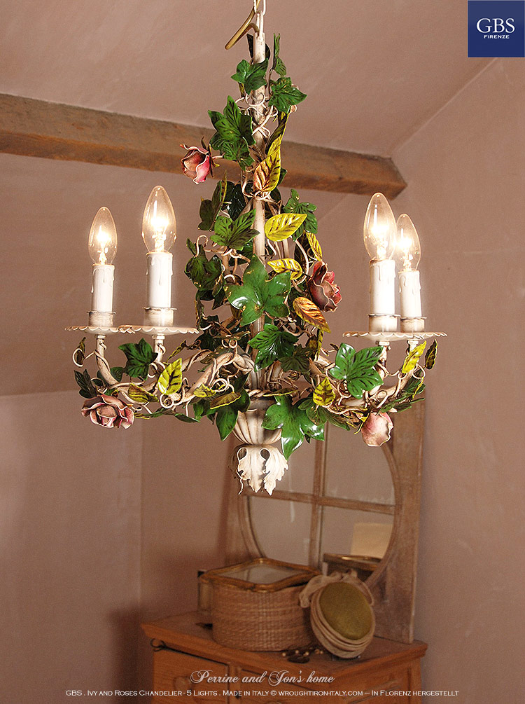 Ivy and Roses Chandelier - 5 Lights. The authentic GBS tole chandeliers collection.