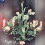 Magnolia Lampadario 6 luci. GBS. Ferro battuto