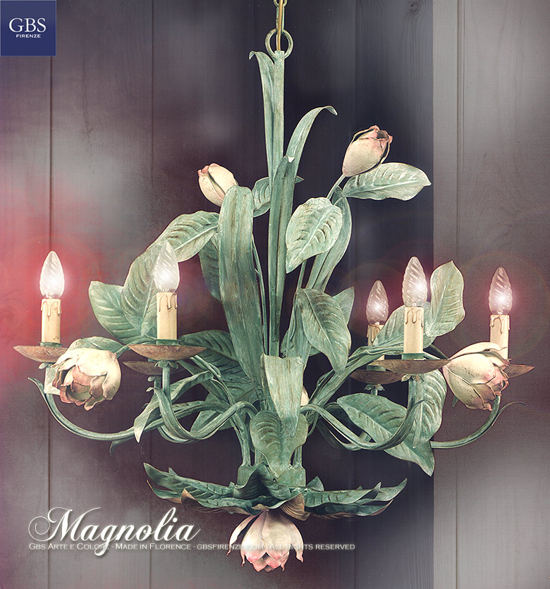 Magnolia Chandelier. 6 Lights. Wrought Iron. Tole. Handmade in Italy