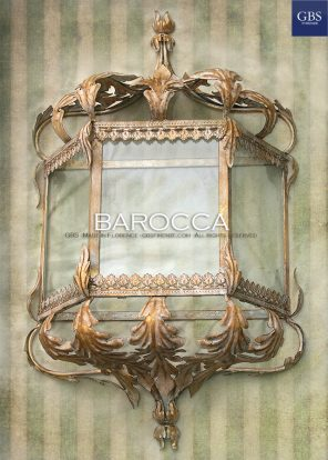 Barocca - White Gold. Half lantern wall light