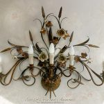 Ears of corn and Anemones. Five lights Wall Sconce. Antique Gold. Hand-decorated wrought iron.