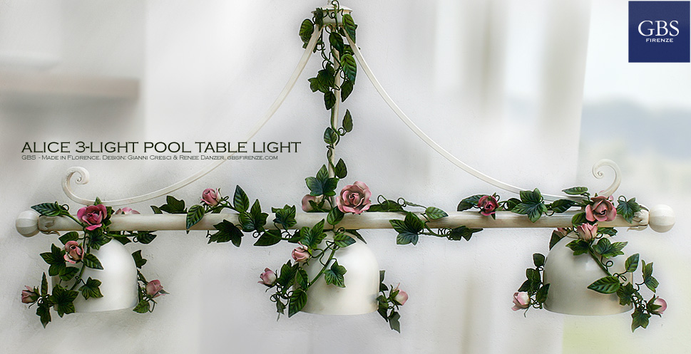 Alice 3-light pool table light. Climbing Roses. Wrought iron.