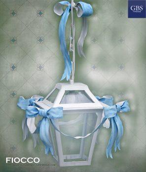 Lanterna 5 Fiocchi. Ferro battuto. Ferro battuto e decorato a mano. Colori personalizzati. Made in Florence.