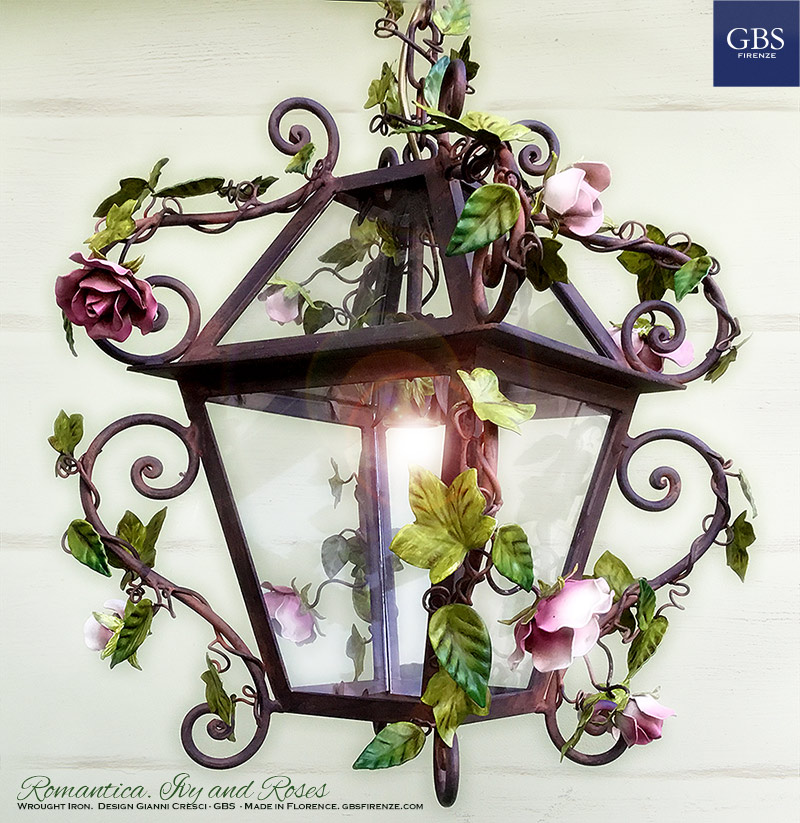 Romantica. Ivy and Roses Lantern. Rust finishing. Hand-painted wrought iron. Made in Florence. Design: Gianni Cresci.