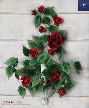 Roserosse. 1-3 Lights Wall Sconce. Red Roses. Hand-painted wrought iron.