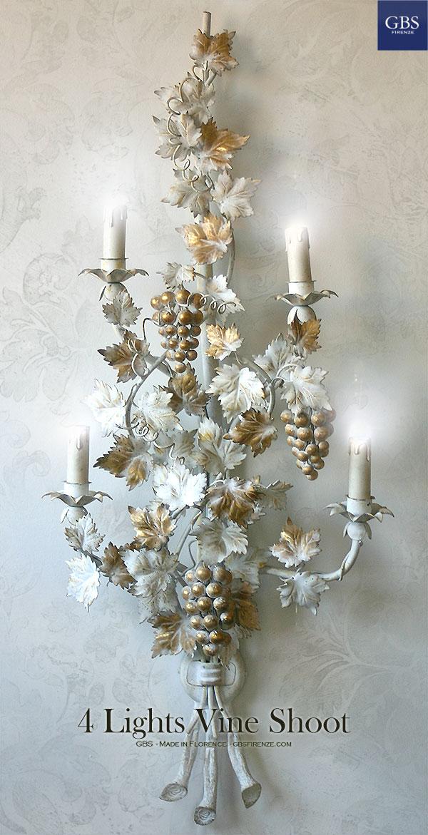 Rama de la Vid. Luz de la pared.Oro Blanco.