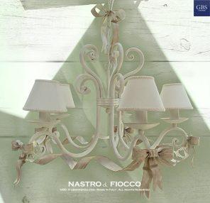 Nastro & Fiocco - Lampadario a 5 Luci - Lampadario romantico per la camera da letto, per il soggiorno, per ambiente romantico
