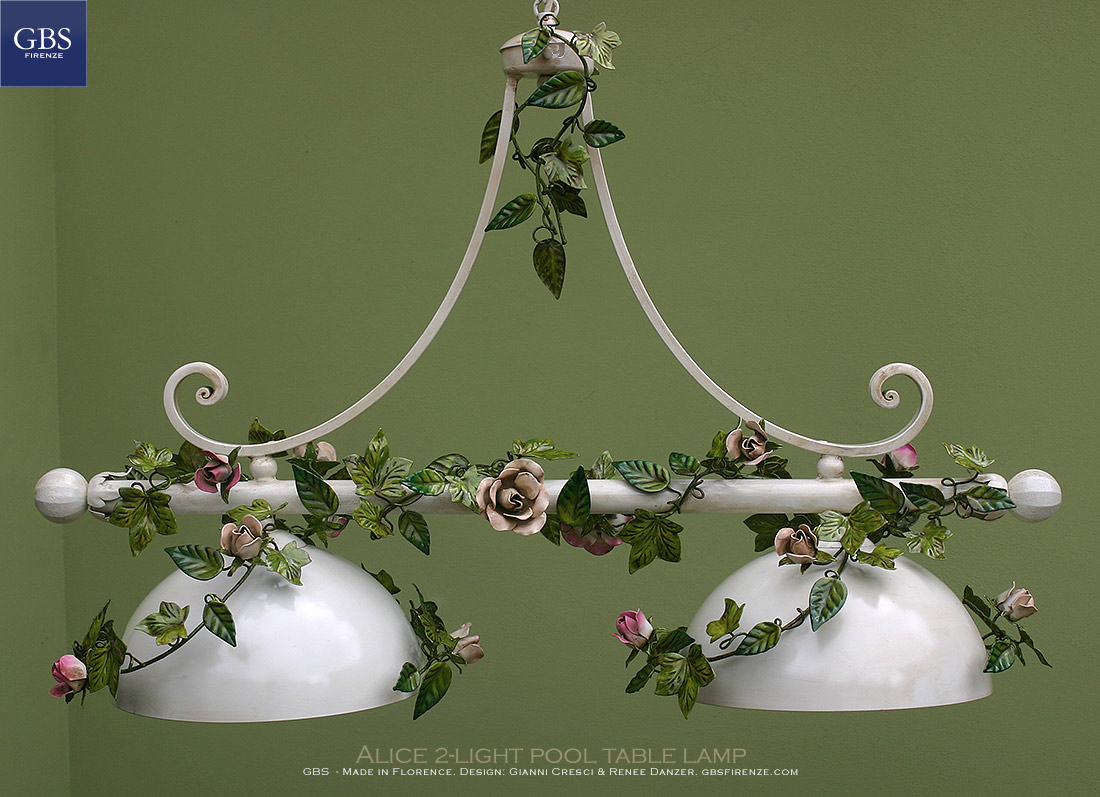 The authentic Alice 2-light pool table lamp with climbing roses. Design: Gianni Cresci & Renee Danzer.