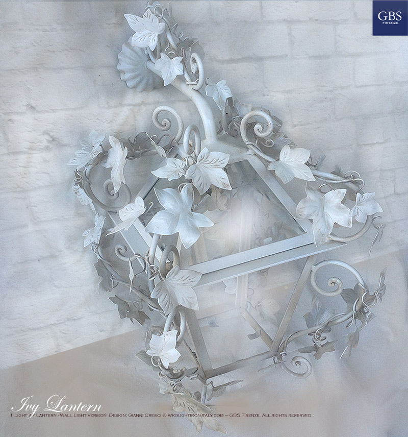 Lanterna Edera. 1 Light Ivy Lantern - Wall Light version Design: Gianni Cresci - Made in Florence - Wrought iron