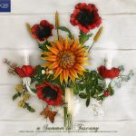 A Summer in Tuscany. Sunflowers and Poppies Wall Sconce.